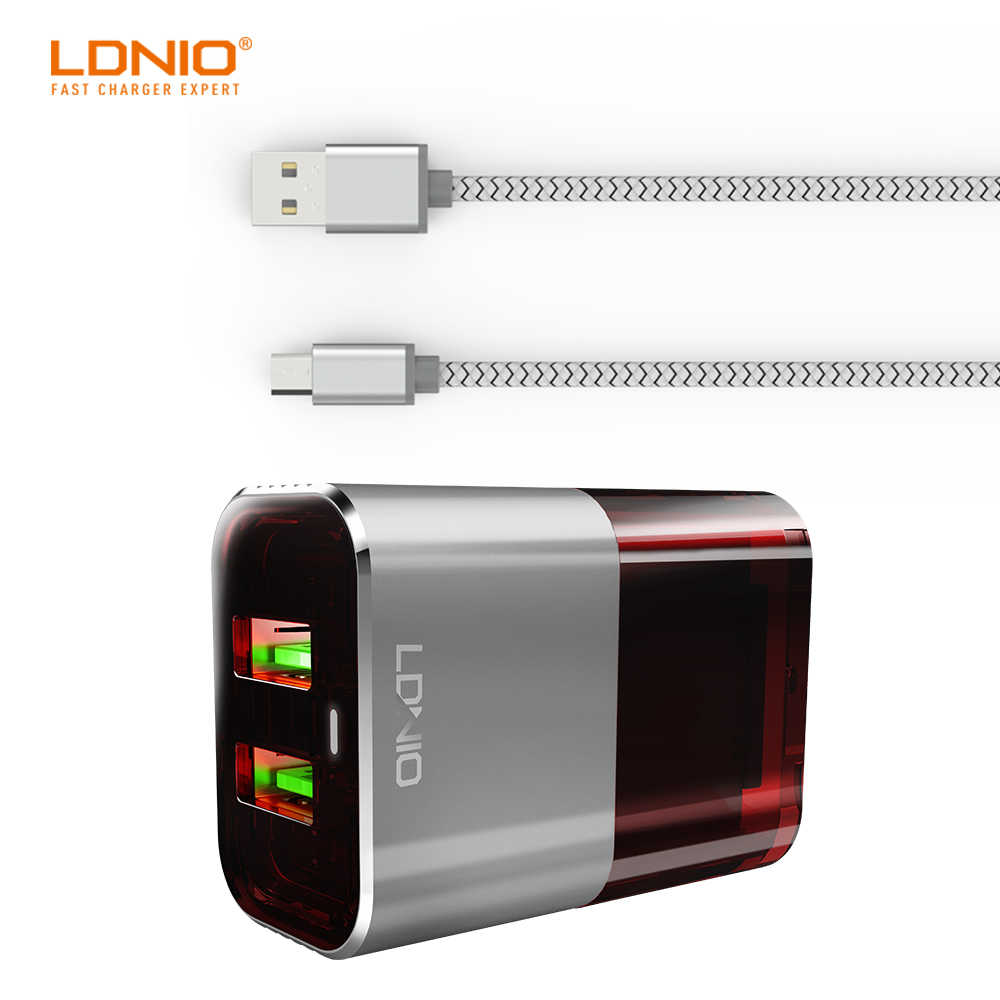 LDNIO A2206 Travel Auto-ID Type Dual USB Port US Plug Gray And Red Color Charger With Prevent Burning Function for Smart Devices