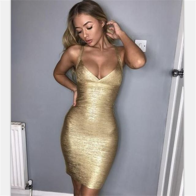 bandage dress 2018 arrivals for women sexy night club bronzing bodycon Spaghetti Strap Lady one piece Mini dresses