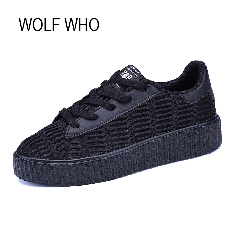 WOLF WHO Autumn Creeper Platform Sneakers Women Flatform Ladies Shoes Female Fashion Tenis Feminino Casual Basket Femme H-142 wolf who 2018 spirng winter women genuine leather shoes high top women platform shoes creeper platform sneakers wedge h 181