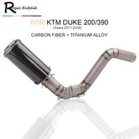 For KTM Duke 200 duke390 motorcycle Exhaust Middle Pipe Link Pipe Titanium alloy Motorcycle Slip on Exhaust system for KTM DUKE
