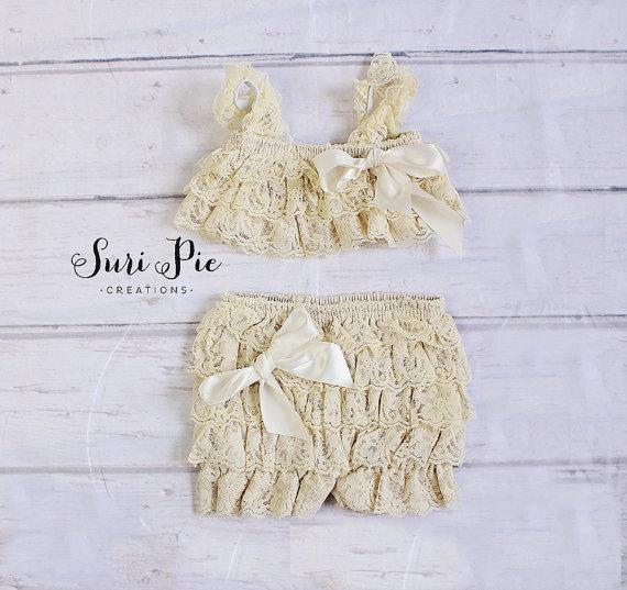 2015 estilo verão menina rendas petti top e calça set bonito crianças irritar romper set 2 T crianças roupas definir venda quente