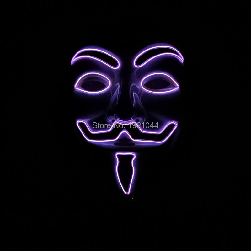 Party Face Mask with DC-3V Sound activated Inverter EL Wire Glowing Mask Lighting Color Purple For Halloween Supplies