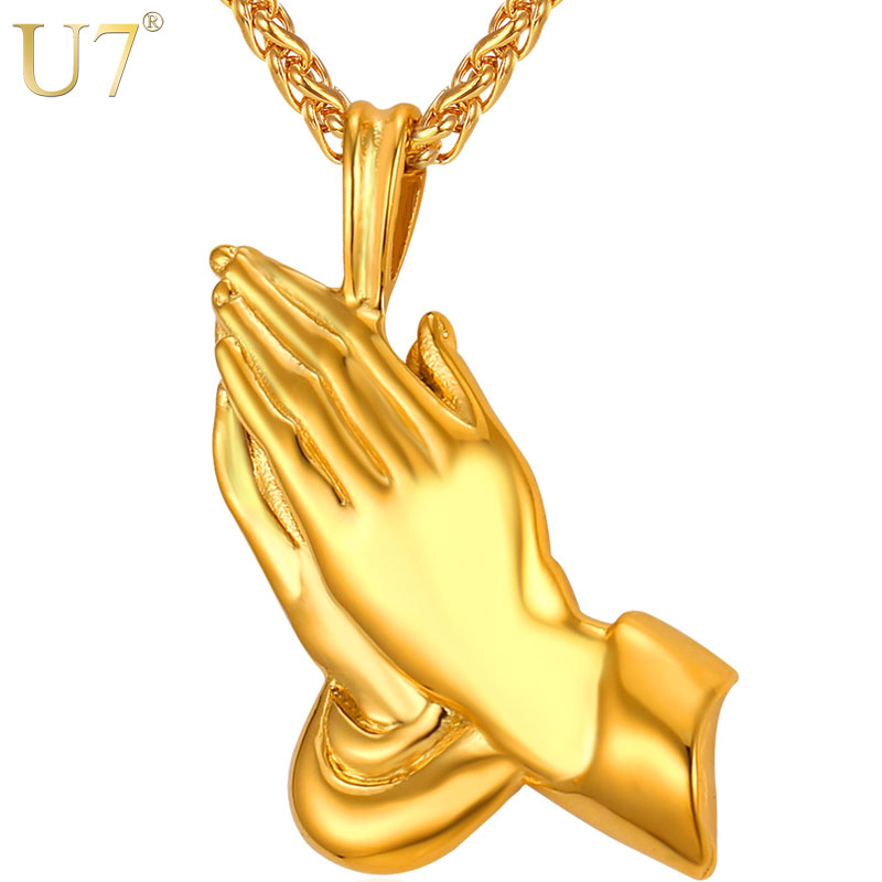 U7 Brand The Praying Hands Pendants & Necklaces Brother Gift Black/Gold Color Stainless Steel Hip Hop Men Chain Jewelry P927 soitis free mason hip hop stainless steel past master masonic free mason freemasonry pendants mason necklaces gold color