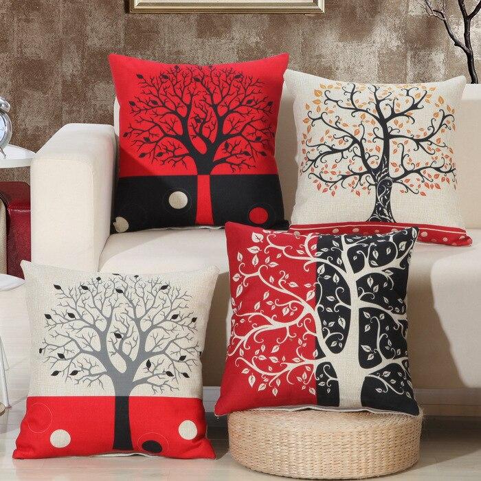 1 Pcs Hitam Merah Pohon Pola Cotton Linen Lempar Bantal Sarung