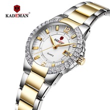 KADEMAN Top Luxury Brand Ladies Wrist Watches for Women Calendar Fashion Crystals Rhinestone Waterproof Full Steel Relogio 826