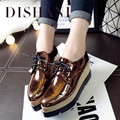2016 New Spring Platform Ladies Shoes Casual Leather Wedge Shoes Woman Fashion Pointed Toe Women Flats 4 Color