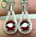2.98CT 14K White Gold Blood Red Ruby & Natural Diamond Engagement Wedding Earring Wholesale Free Shipping