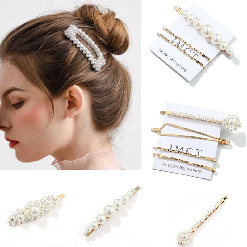 Fashion Headwear Hair Accessories Women Girls 1 Set Pearl Hair Clips Daily Life Wedding Headpiece Sweet Headwear