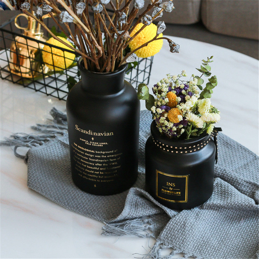 Chic Black Glass Storage Jar Scandinavian Nordic Matt Paint Bronzing Word Desk Storage Bottle Organizer Flower Container Decor