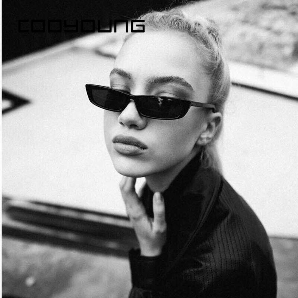 COOYOUNG Vintage Rectangle Sunglasses Women Brand Designer Small Frame Sun Glasses Retro Black Eyewear Narrow Glasses