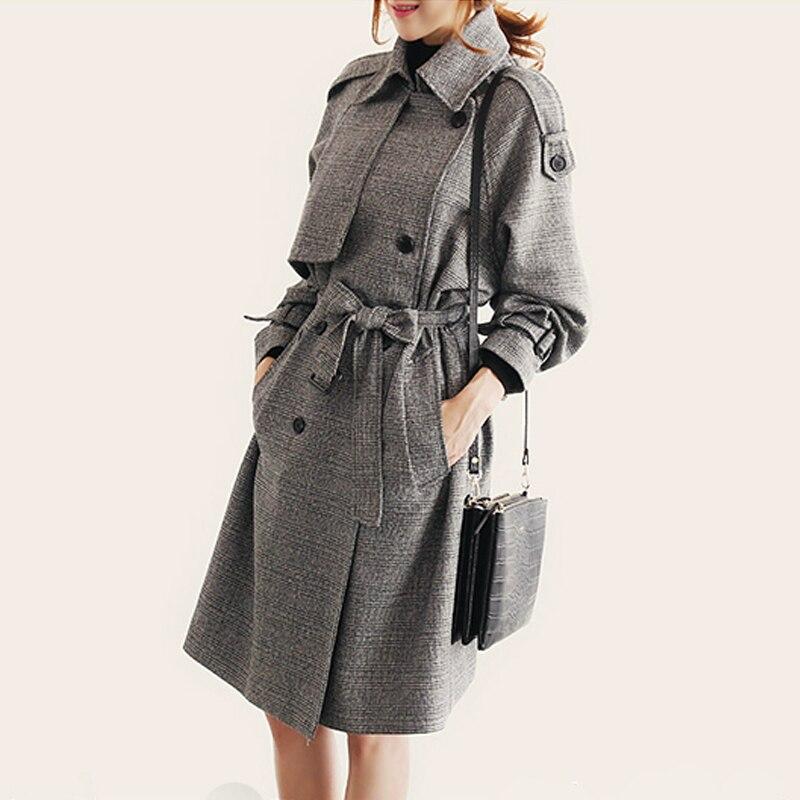Taille Grande Nouvelle Femmes Double Couleur Femme Arrivée Automne Gris 2017 Longue Pour Moyenne Manteau Boutonnage Tranchée Et Hiver Filles PnpvRd4