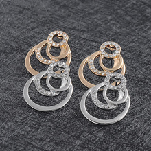 NEW Fashion Gold Color Geometric circle Rock Punk Stud Earrings/necklace Jewelry Set For Woman Birthday Wedding Jewelry Gift set