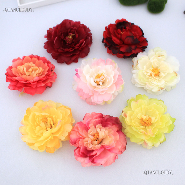 100 Pieces Artificial Peony Silk Flower Heads For Hair Clip Garland