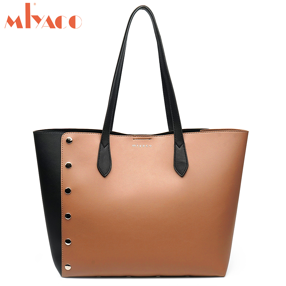 Miyaco Fashion Rivet Tote Bag Handbag for Women Leather Shoulder Bags Shopper Bag Tote Purse with Pocket 2018 New fashionable women s tote bag with embossing and rivet design