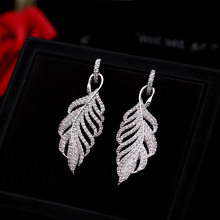 fashionable Personality Feather earrings with Zircon 925 Silver Needle empty Leaf ear Jewelry earrings for women(China)