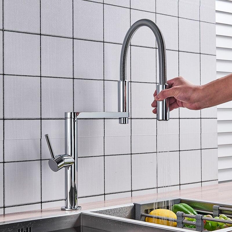 Cromo girar el cuello de cocina grifo sacar cocina grifo mezclador grifo montado cubierta grifo de cocina libre de plomo