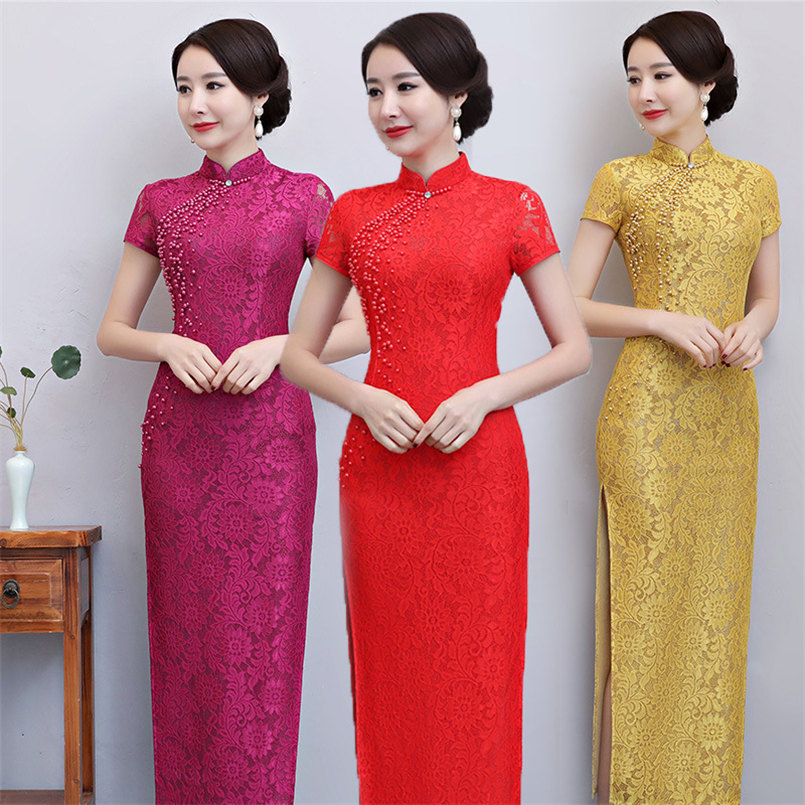 Robe de soirée longue en dentelle élégante avec perles rouge Cheongsam robe chinoise pour femmes robe de Festa Longo