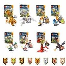 8pcs/lot Nexus Knights Castle Knights 79305 Minifigure Building Block Brick Set Jestro Macy Lance Aaron Children Bricks Toys