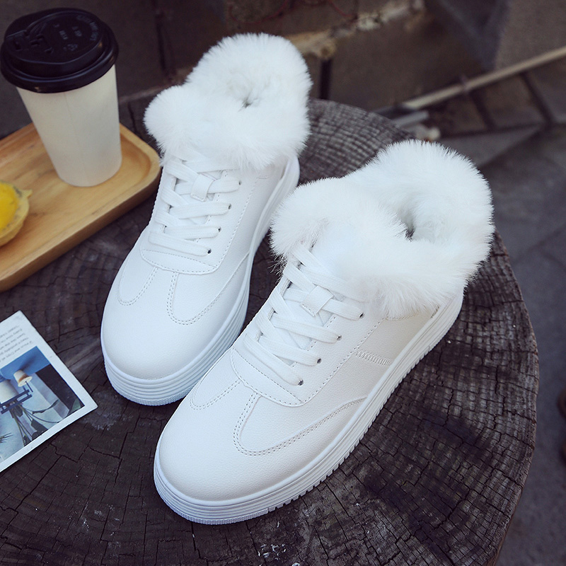 Women Sneakers New Fashion PU Leather Women Casual Shoes Winter Lace-Up Flats Platform Warm Plush Fashion Women Shoes new fashion women white shoes flats platform student female korean soft casual rubber lace up pu leather joker superstar ks 508
