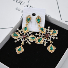 Fashion Baroque Elegant Cross Crystals Earrings For Women European Court Style Rhinestones Dangle Bijoux Jewelry