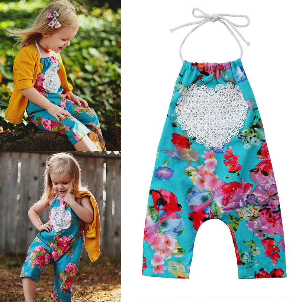 506078f3074a ... 2018 Newest Style Newborn Kids Baby Girl Floral Pattern Sleeveless Belt Romper  Jumpsuit Playsuit Clothes Outfits ...