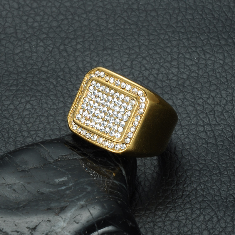 HIP Hop Micro Pave Rhinestone Iced Out Bling Square Ring IP Gold - Bisutería - foto 4