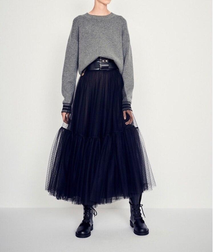 Elástico Negro Gasa gris De Vestido Mujeres Faldas Maxi Cintura Negro Lujo Elegante Las Moda Nueva Pista 2019 Malla w6qnTEaEgx