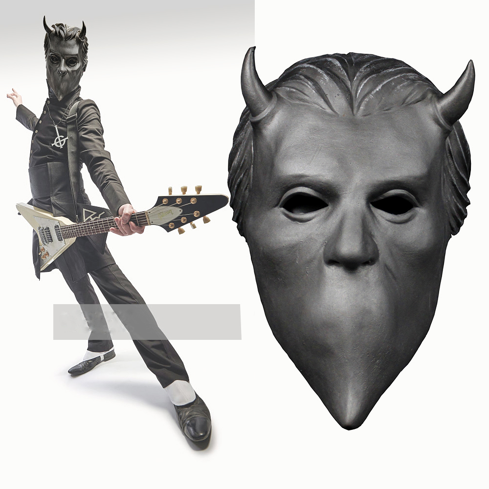 Ghost Nameless Ghouls Mask Cosplay Ghost B.C Heavy Metal Doom Hard Rock Roll Band Latex Helmet Masks Halloween Party Props chifres malevola png