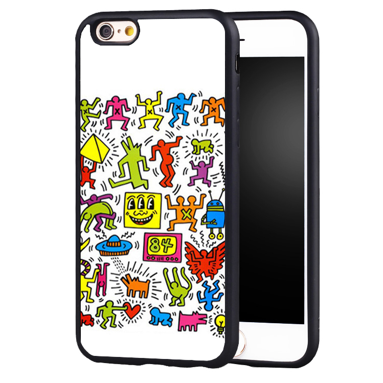 eith Haring Compact design protect edge Back Case Cover For iPhone X 8 5 5S SE 6 6S 7 Plus