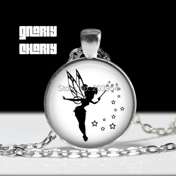 Steampunk US Moive peter pan Tinkerbell silhouette Necklace 1pcs/lot bronze necklace silver Glass Pendant jewelry chain gift men