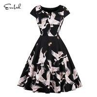Birds Print Vintage Retro Dress 50s 60s Plus Size Women Clothing A Line One Piece Dress