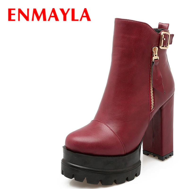 ENMAYLA High Heels Ankle Boots for Women Autumn Winter Chunky Heels Platform Boots Zippers Round Toe Western Shoes Woman enmayla ankle boots for women low heels autumn and winter boots shoes woman large size 34 43 round toe motorcycle boots