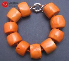 Женский браслет qingmos из натурального кораллового апельсина