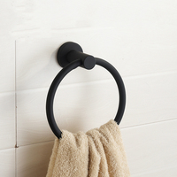 Personality Contemporary Brushed Black Towel Holder Towel Ring 304 Stainless Steel Towel Bar Mounting Bathroom Products Gu60