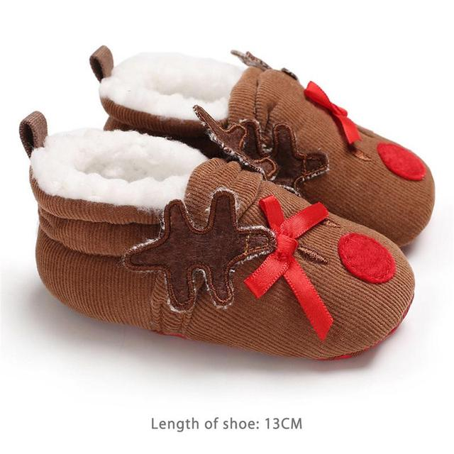 ccb1e8ae5f32 Baby Shoes Winter Toddler Shoes Cute Deer Christmas Slippers Shoes Animal  Warm Plush boots Infant Boys
