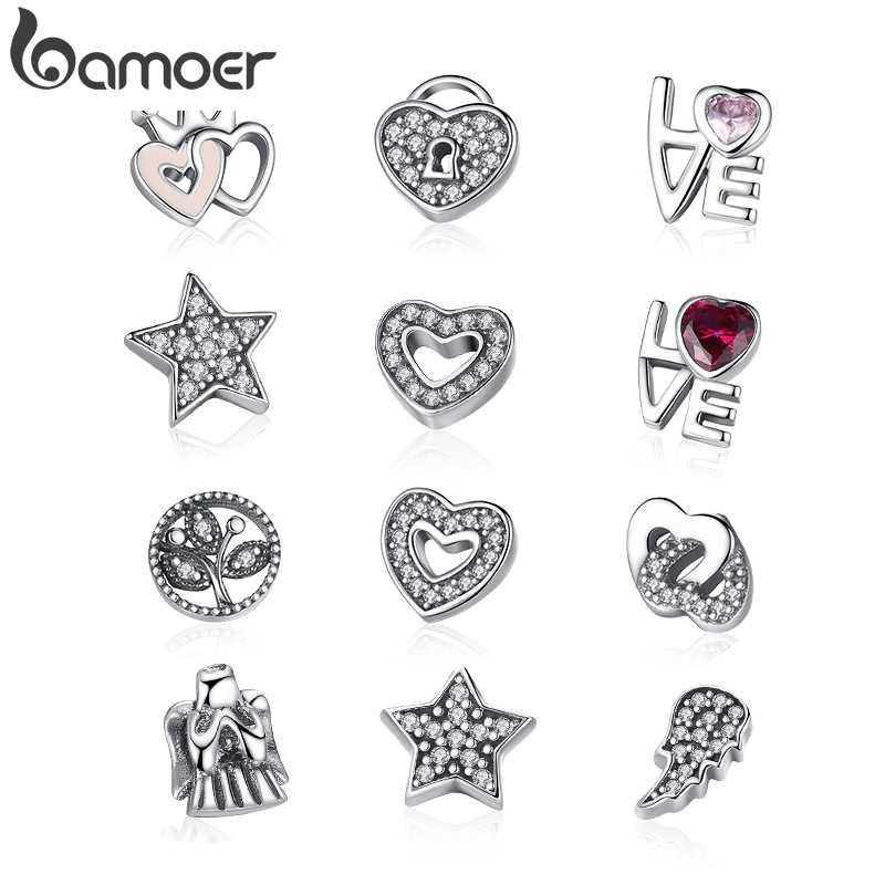 BAMOER 925 เงินสเตอร์ลิง Celestial,Love & Family,FOREVER Hearts Petites ความทรงจำลูกปัด Fit Locket สร้อยคอ PSF101