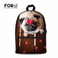 FORUDESIGNS 2018 Fashion Women Travel Backpacks Funny 3D Pug Dog Animal Woman Shoulder Daypack Student School