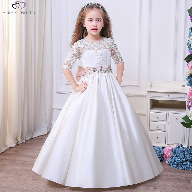 Ellies Bridal Elegant Wedding Birthday Party Dresses White Princess Dress with Bow Tulle Lace Tutu Girls Flower Dress for 3-11T lilac tulle open back flower girl dresses with white lace and bow silver sequins kid tutu dress baby birthday party prom gown