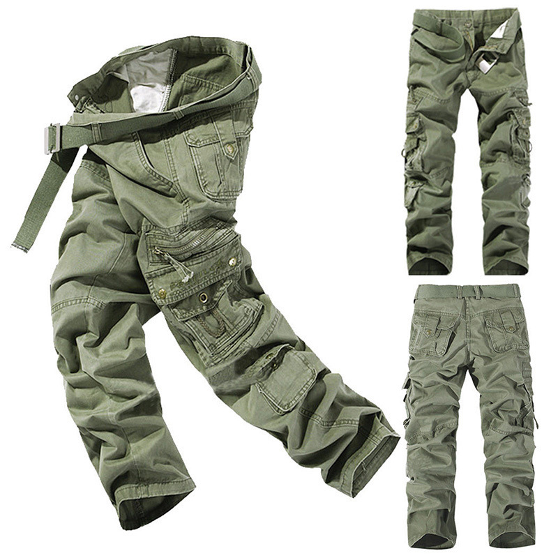 CARGO PANTS Overalls Male Mens Army Clothing TACTICAL PANTS MILITARY Work Wear Many Pocket Combat Army Style Straight Trousers