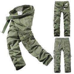 Pantalones CARGO overoles hombres ropa del ejército pantalones tácticos ropa de trabajo militar muchos Pantalones rectos de estilo militar de combate de bolsillo