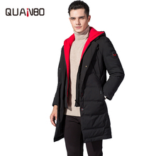 QUANBO Long Winter Down Jacket 2019 New Brand Clothing 90% White Duck Down Men's Jacket Thick Warm Hooded Coat Fashion Parkas цена