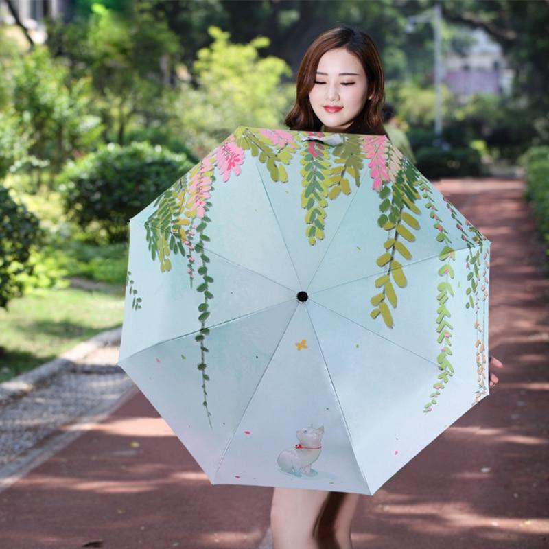 Svježe Ilustracija Drvni list Kišica Lady Kišni suncobran 3 - Kućanski robe - Foto 6