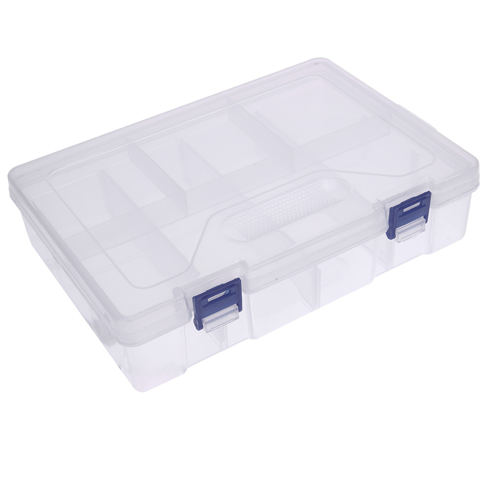 Double Layer 8 Grid Storage Container Transparent Plastic PP Storage Box  Hardware Tool Gold And Silver