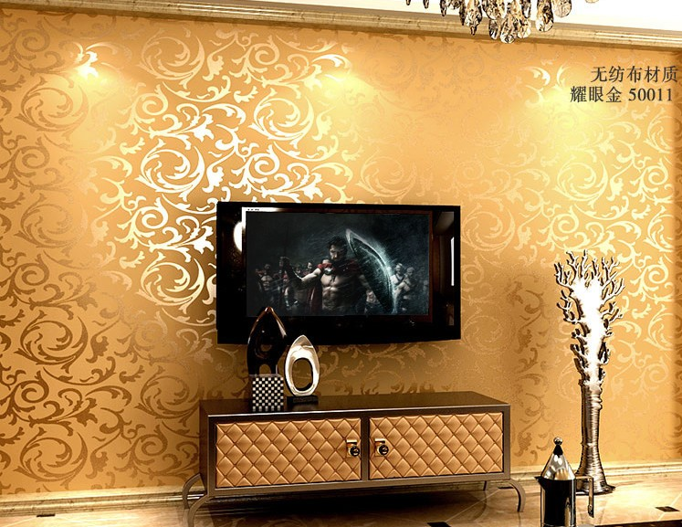 Free Shipping Luxury Gold Wallpaper Short Thickened