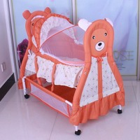 Three Colors Good Quality Manual Animal Carton Image Baby Bed Baby Cradle Including Mosquito Net And Sleeping Basket