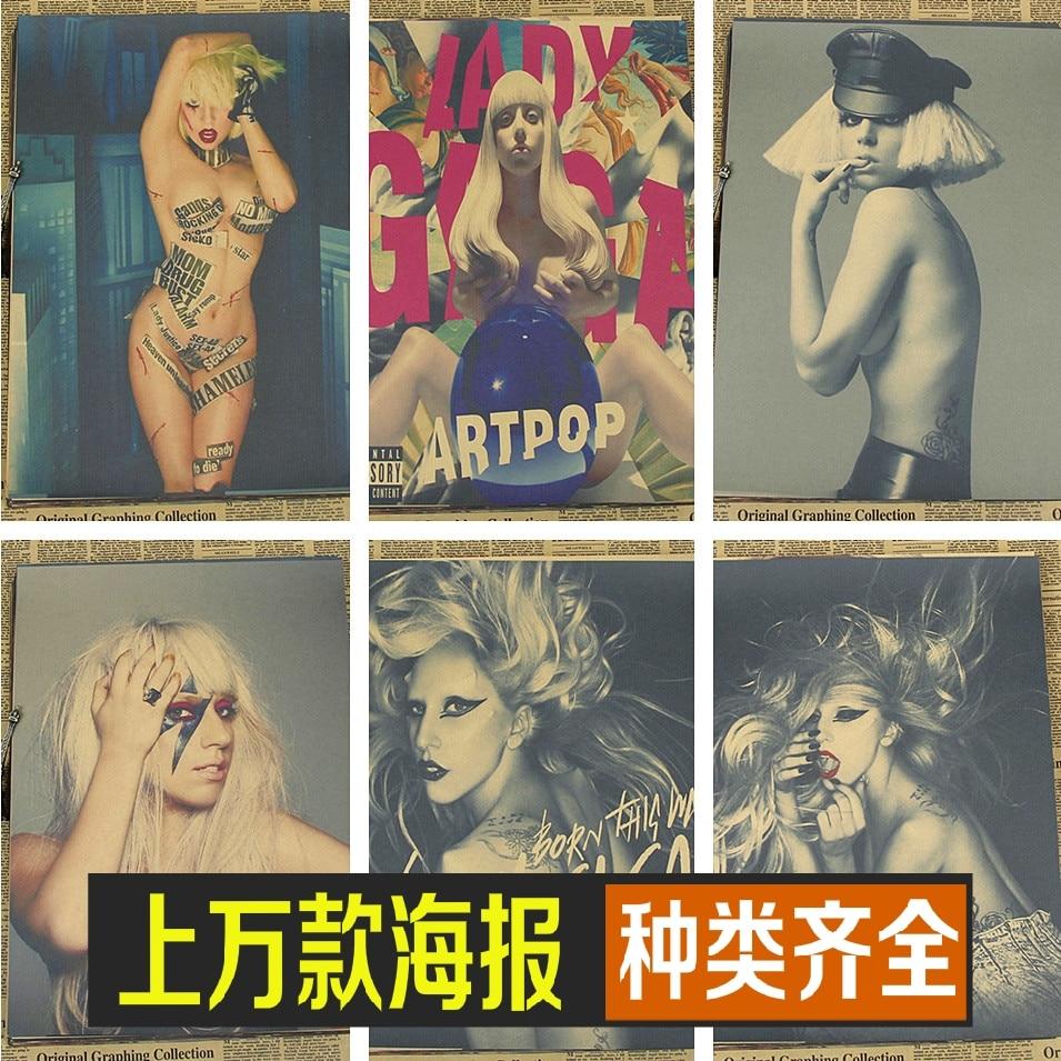 Gaga Lady Kraft material European and American pop star music singer retro Poster vintage poster