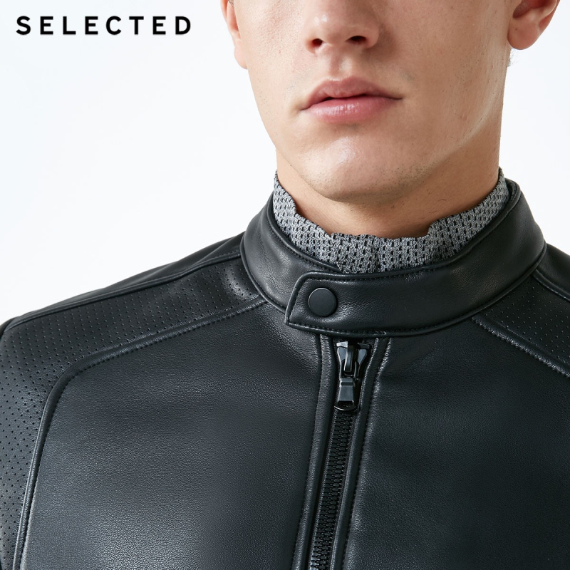 Image 4 - SELECTED Stand up Collar Leather Jacket Men's Zip through PU Jacket S  4184P3506-in Faux Leather Coats from Men's Clothing