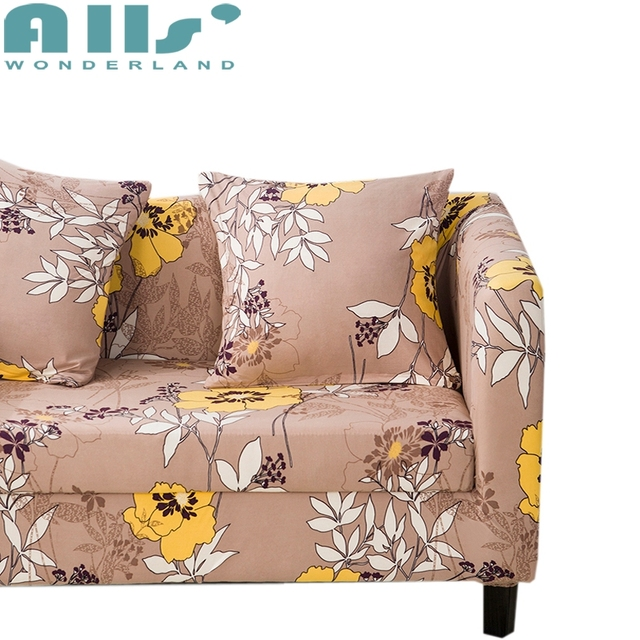 One Arm Sofa Slipcover Prix Mah Jong Roche Bobois 1 Piece Stretch Elastic For L Shape Couch Cover Reversible Yellow Beautiful Flower Pattern On Side