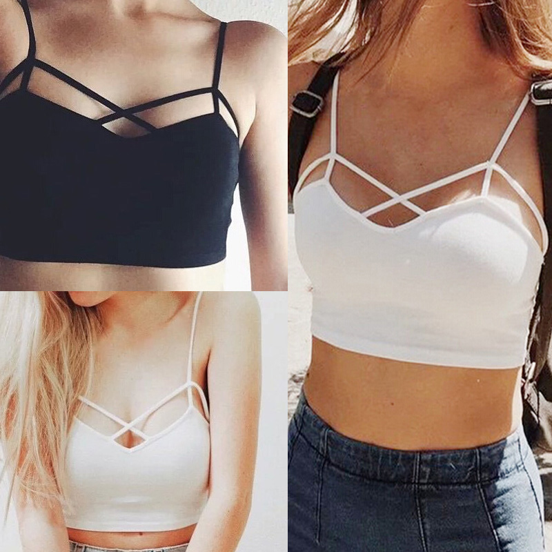 462974d9847 Detail Feedback Questions about Summer Crop Tops Sexy Skinny Boho Beach  Vest Underwear Lace Up White Black Tank Tops Padded Bra Cotton Casual  Strapless ...