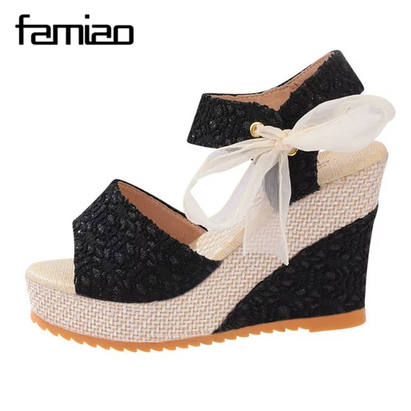 Fashion Women Sandals Summer Wedges Women's Sandals Platform Lace Belt Bow Flip Flops open toe high-heeled Women shoes Female new 2017 fashion women sandals summer style wedges women s sandals platform black slippers flip flops open toe high heeled